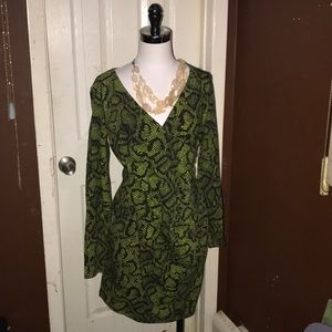 Betsey Johnson Fab Faux Wrap Snakeskin Dress L